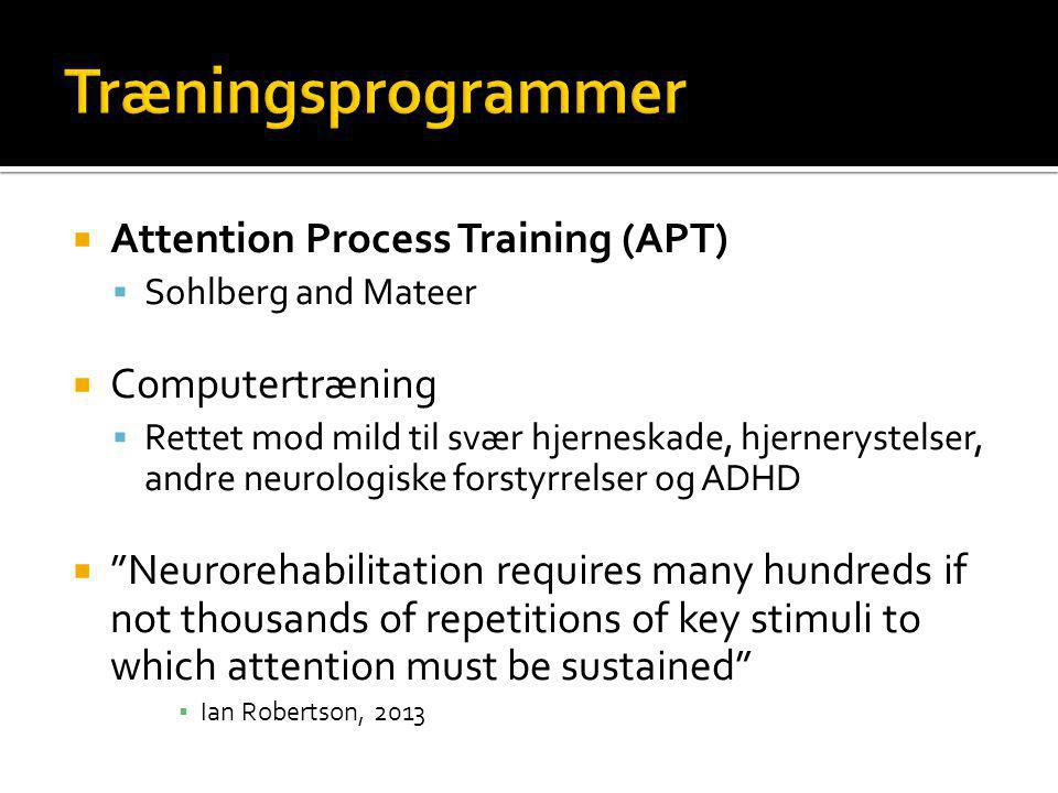 Træningsprogrammer Attention Process Training (APT) Computertræning