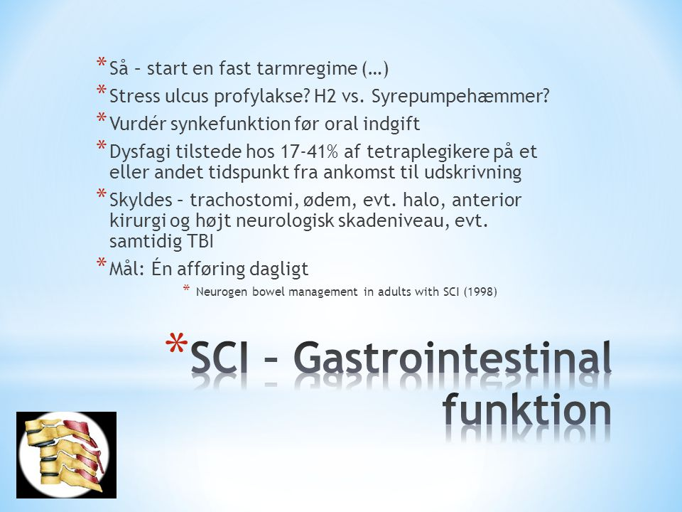 SCI – Gastrointestinal funktion