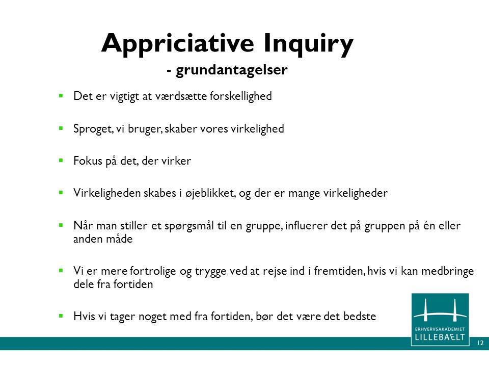 Appriciative Inquiry - grundantagelser