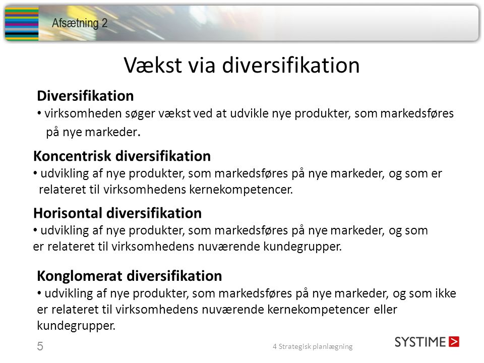 Vækst via diversifikation