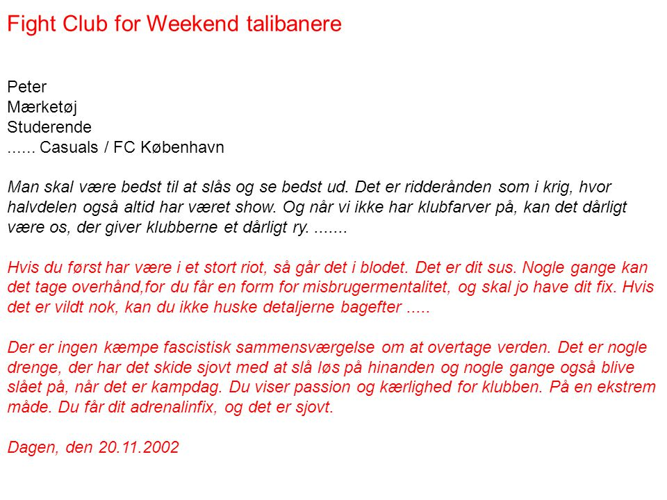 Fight Club for Weekend talibanere