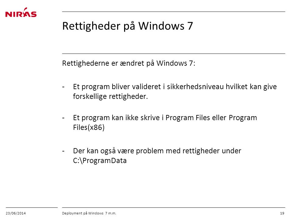 Rettigheder på Windows 7