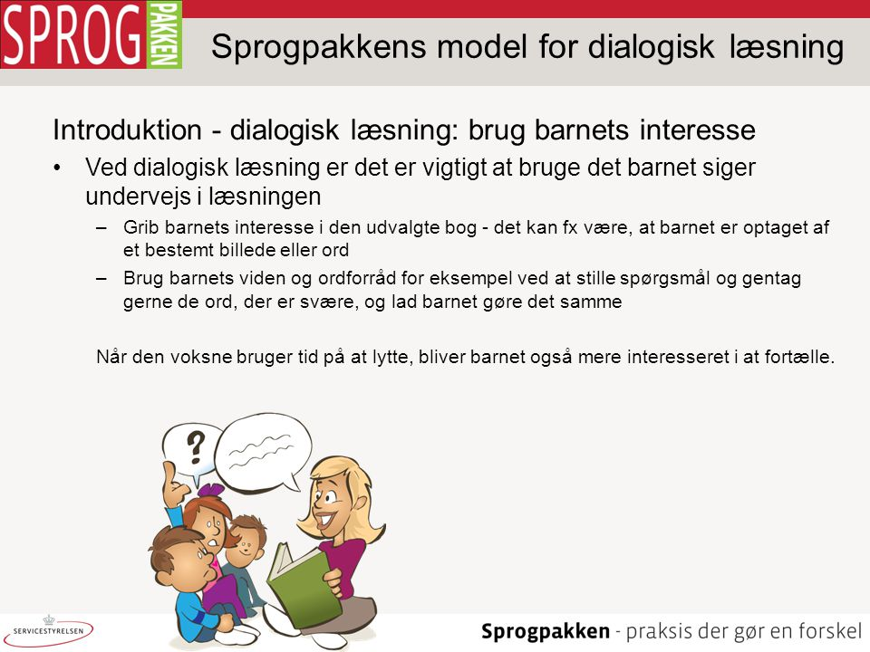 Sprogpakkens model for dialogisk læsning