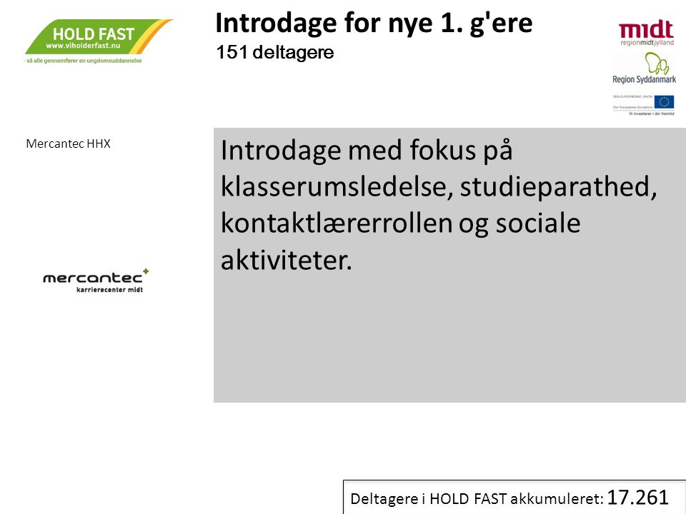 Introdage for nye 1. g ere 151 deltagere. Mercantec HHX.