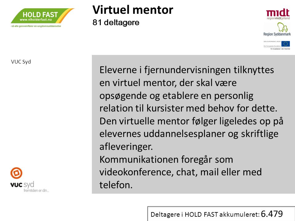 Virtuel mentor 81 deltagere. VUC Syd.
