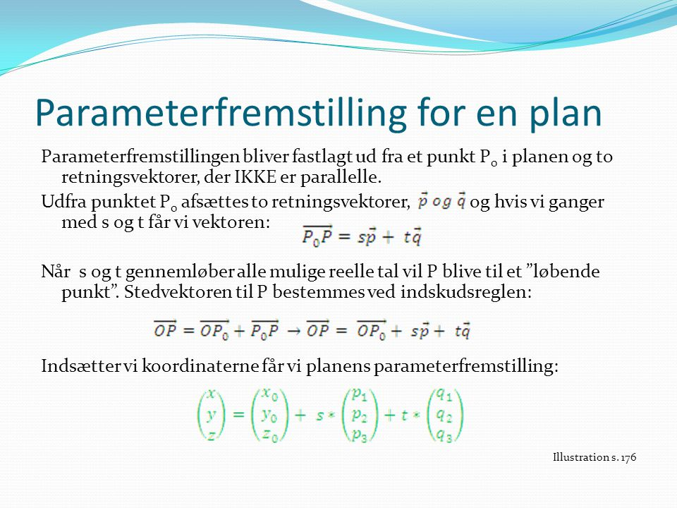 Parameterfremstilling for en plan