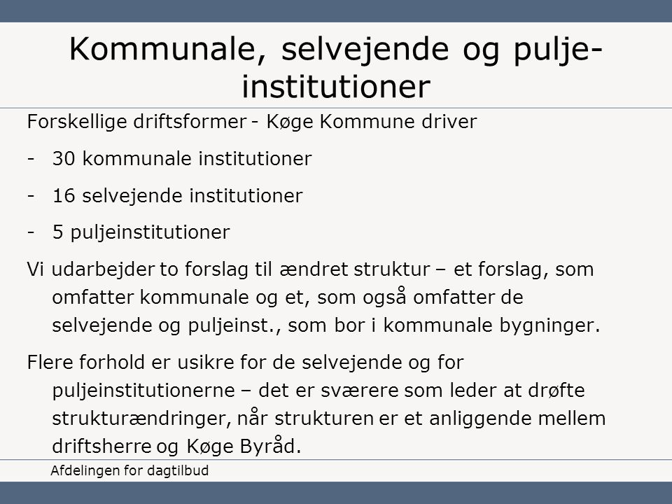 Kommunale, selvejende og pulje-institutioner