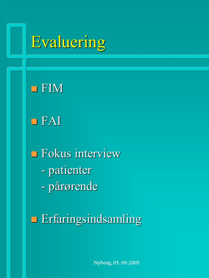 Evaluering FIM FAI Fokus interview - patienter - pårørende