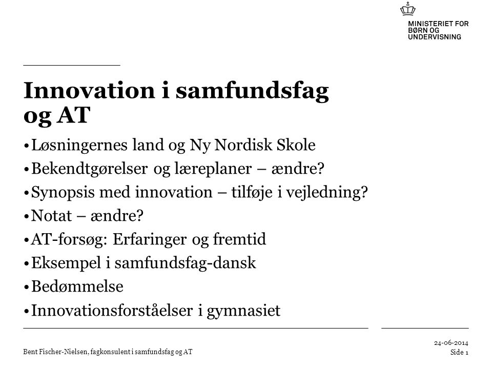 Innovation i samfundsfag og AT