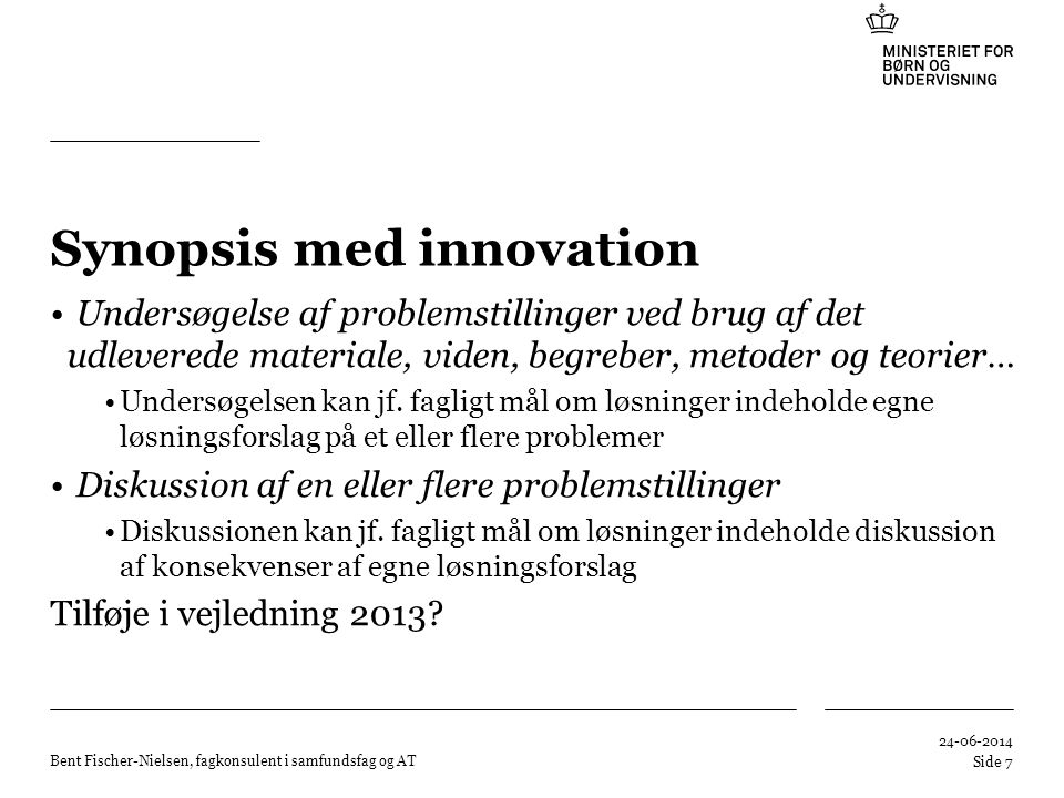 Synopsis med innovation