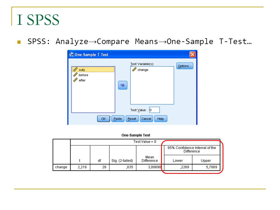 I SPSS SPSS: Analyze→Compare Means→One-Sample T-Test…