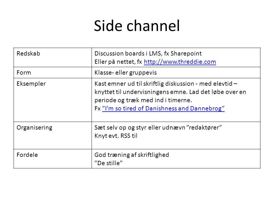 Side channel Redskab Discussion boards i LMS, fx Sharepoint