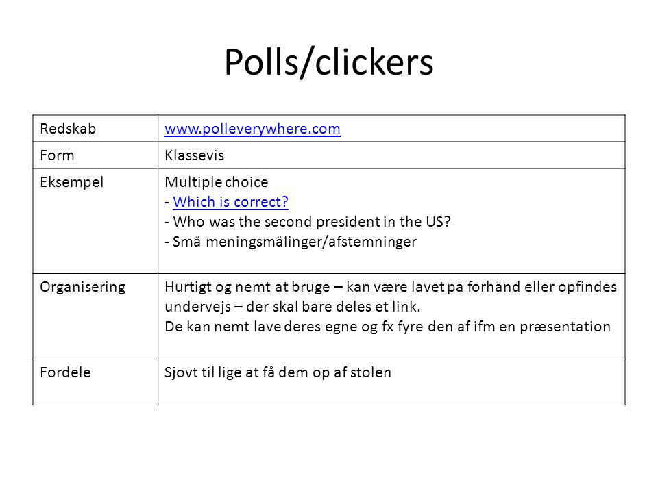 Polls/clickers Redskab www.polleverywhere.com Form Klassevis Eksempel