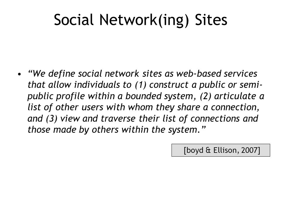 Social Network(ing) Sites