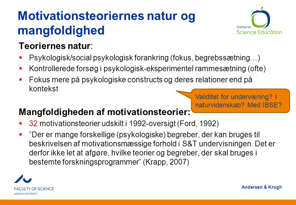 Motivationsteoriernes natur og mangfoldighed