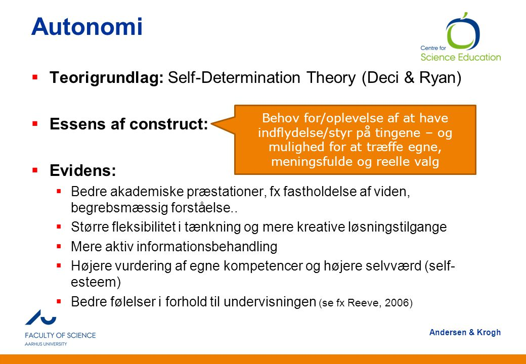 Autonomi Teorigrundlag: Self-Determination Theory (Deci & Ryan)