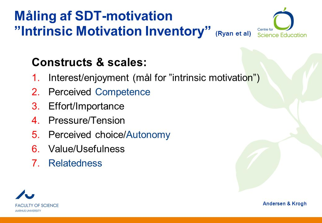 Måling af SDT-motivation Intrinsic Motivation Inventory (Ryan et al)