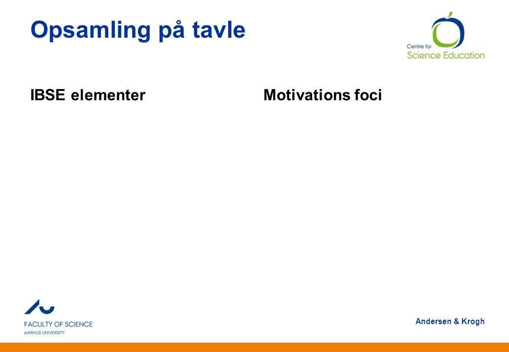 Opsamling på tavle IBSE elementer Motivations foci