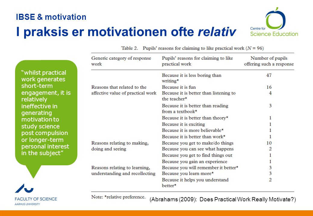 IBSE & motivation I praksis er motivationen ofte relativ