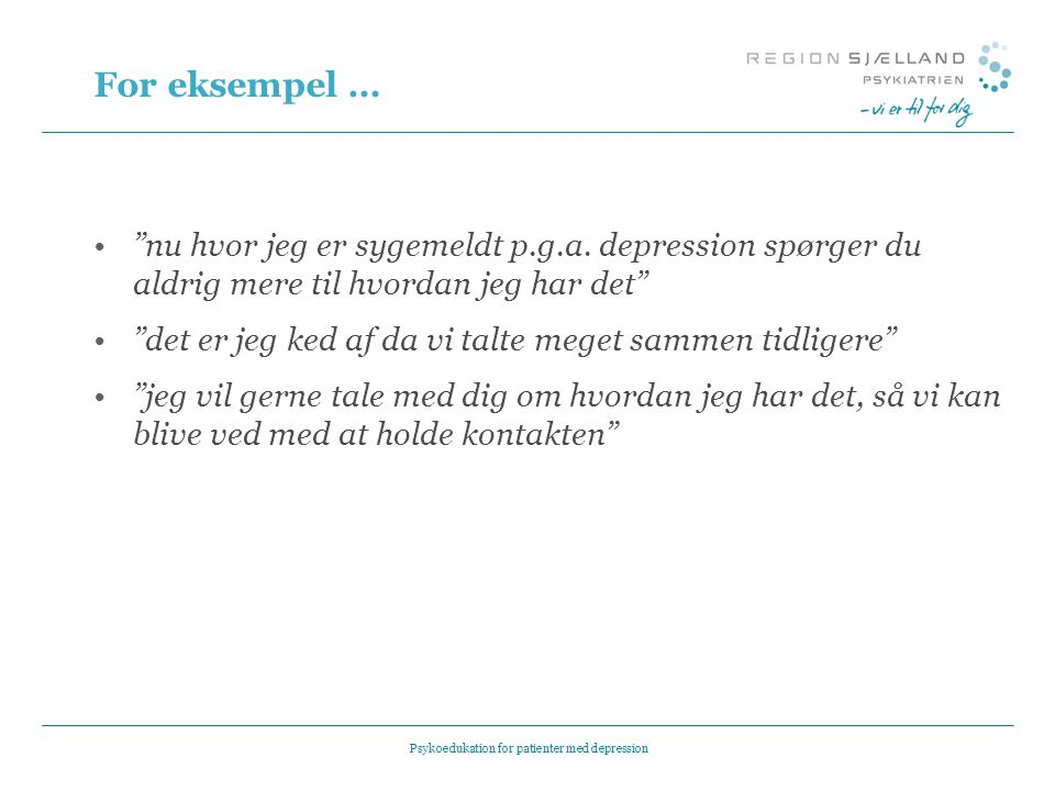 Psykoedukation for patienter med depression