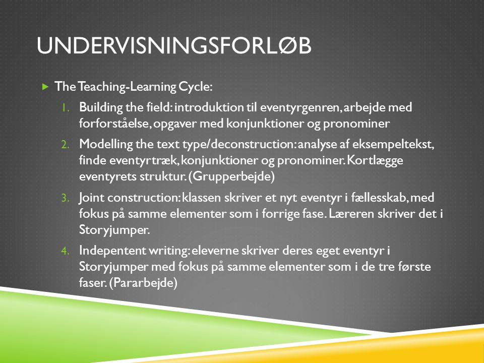 undervisningsforløb The Teaching-Learning Cycle:
