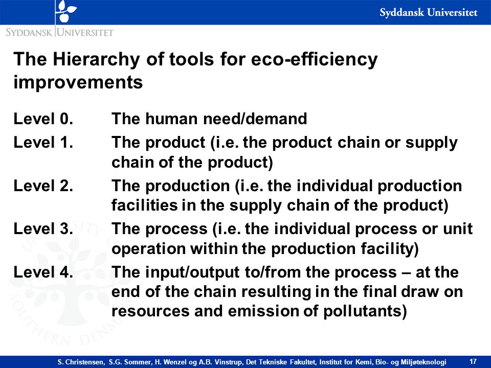 The Hierarchy of tools for eco-efficiency improvements