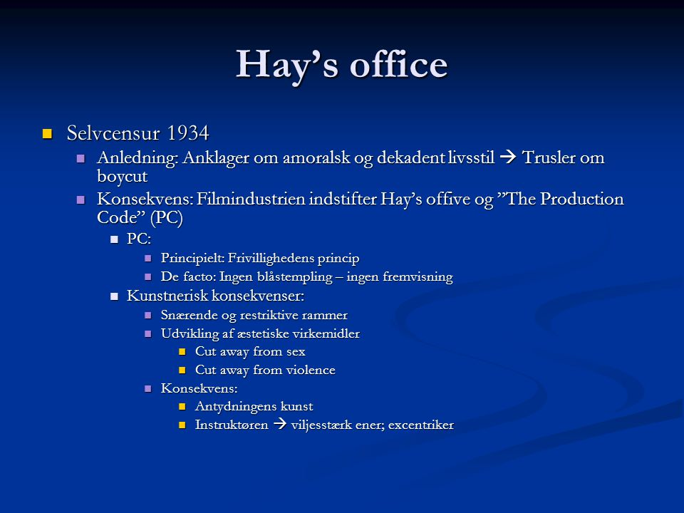 Hay's office Selvcensur 1934