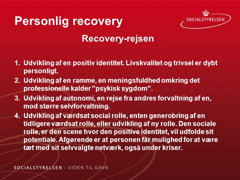 Personlig recovery Recovery-rejsen