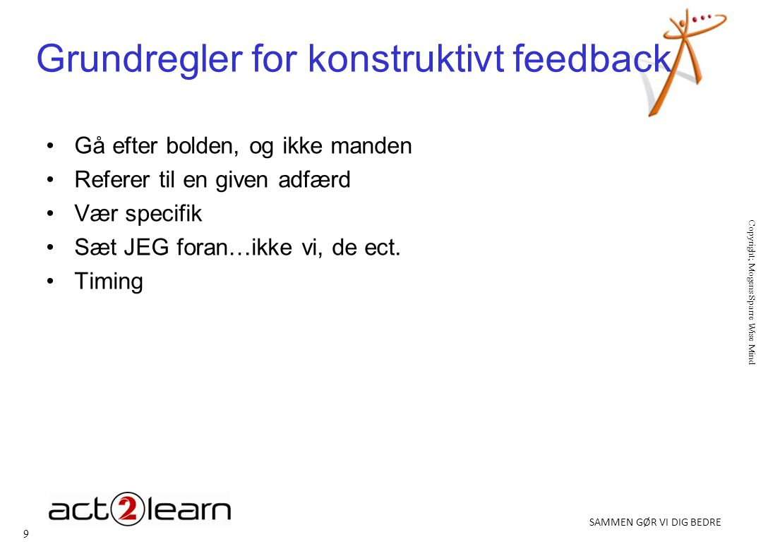 Grundregler for konstruktivt feedback