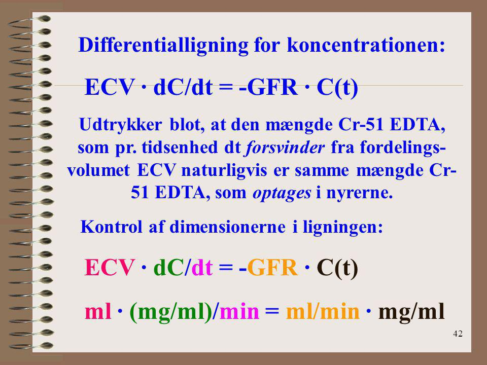 Differentialligning for koncentrationen: