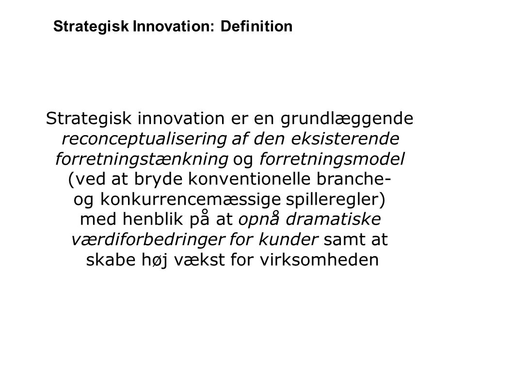 Strategisk Innovation: Definition