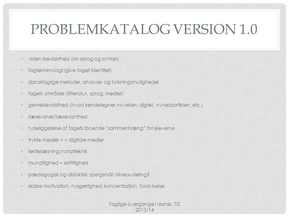Problemkatalog version 1.0