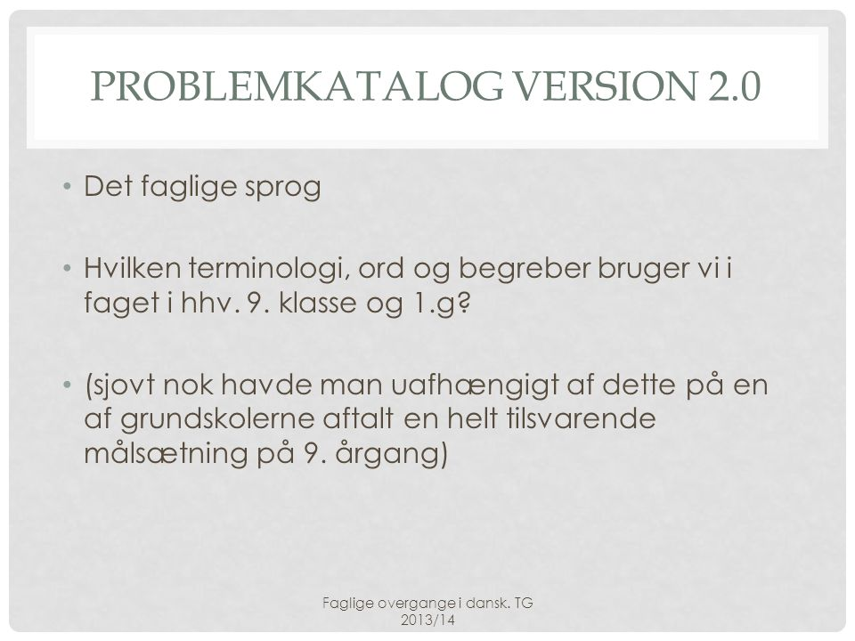 Problemkatalog version 2.0
