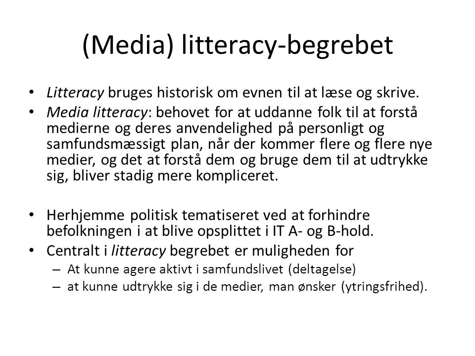 (Media) litteracy-begrebet