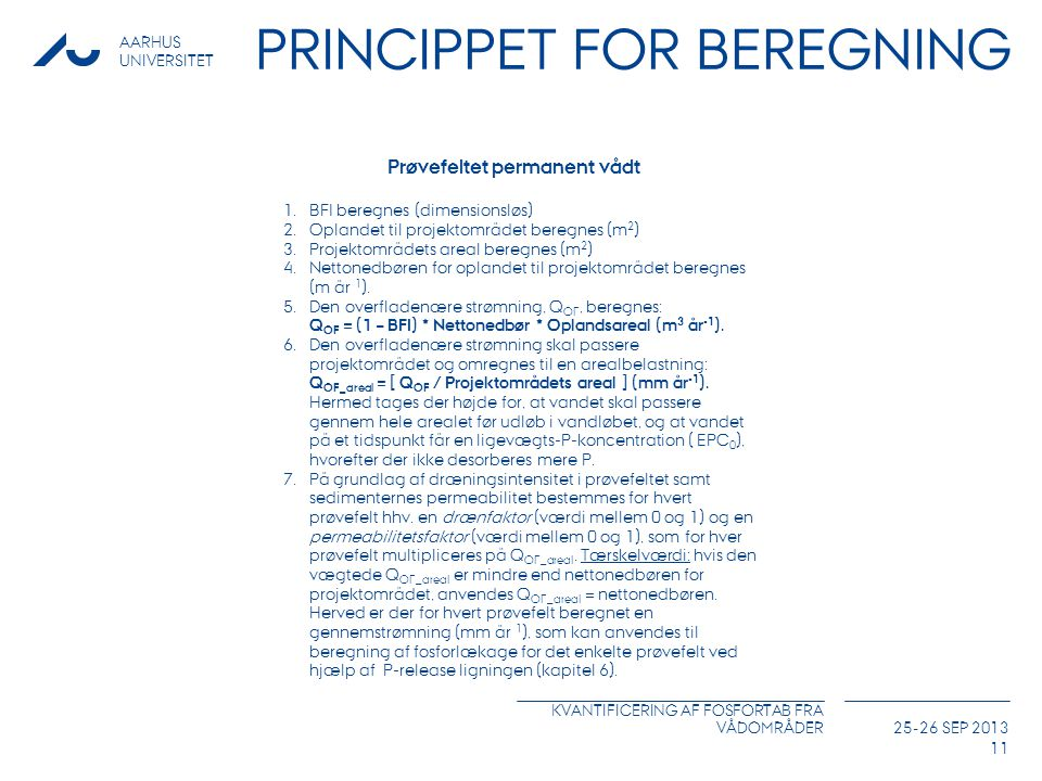 Princippet for beregning