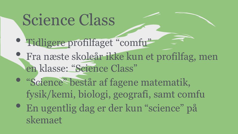 Science Class Tidligere profilfaget comfu