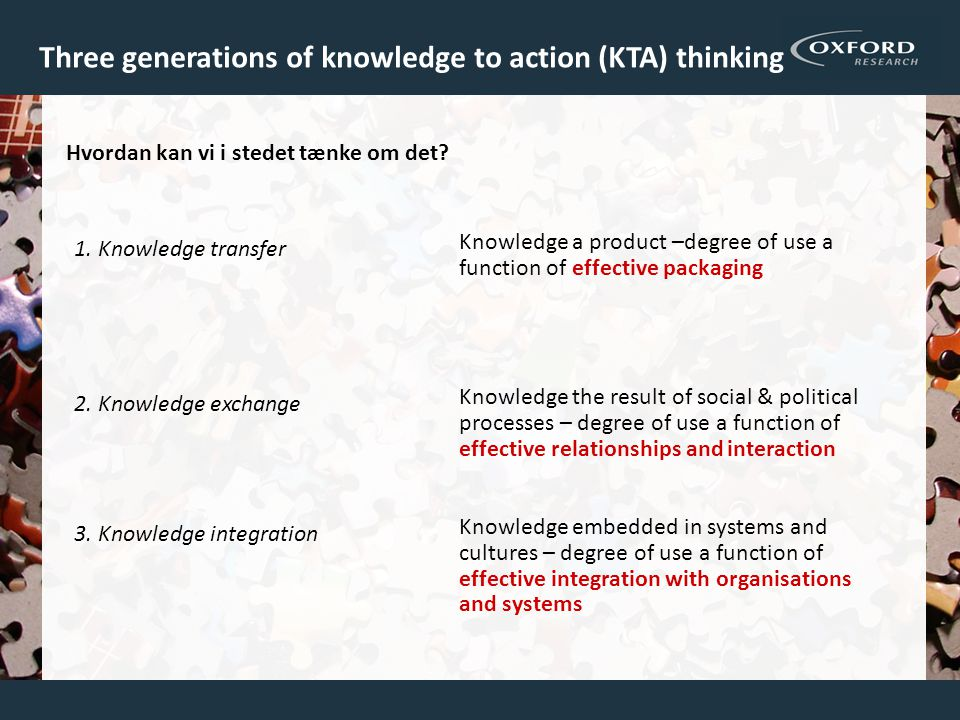 Three generations of knowledge to action (KTA) thinking