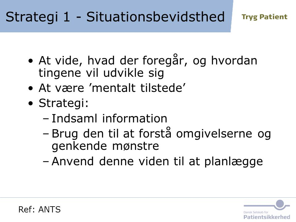 Strategi 1 - Situationsbevidsthed