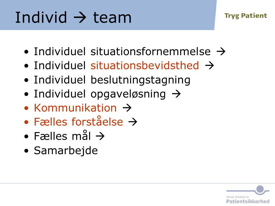 Individ  team Individuel situationsfornemmelse 
