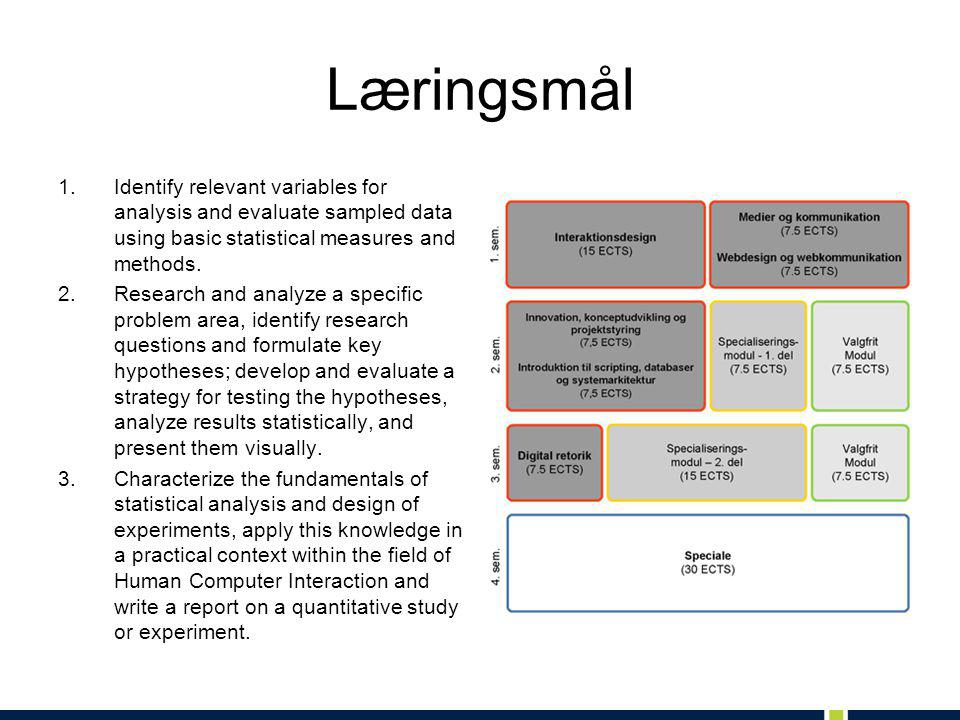 Læringsmål Identify relevant variables for analysis and evaluate sampled data using basic statistical measures and methods.