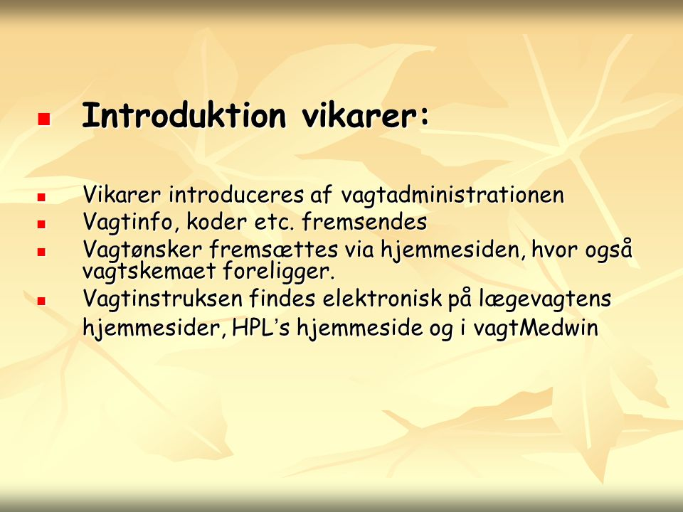 Introduktion vikarer: