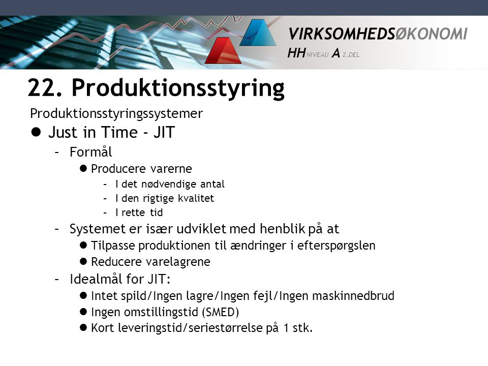 22. Produktionsstyring Just in Time - JIT Produktionsstyringssystemer