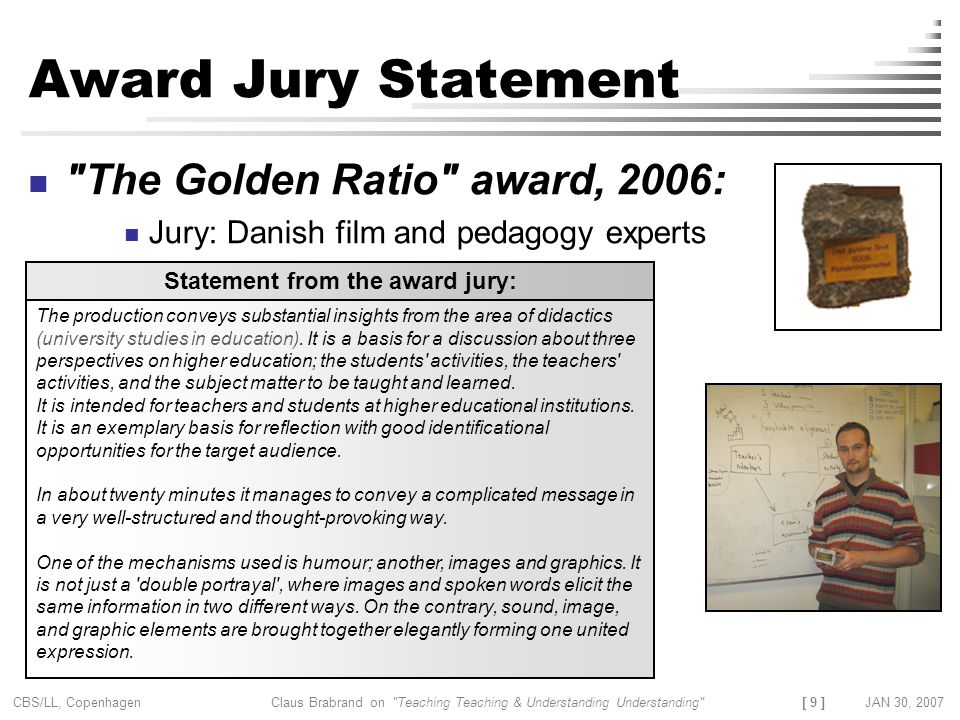 Statement from the award jury: