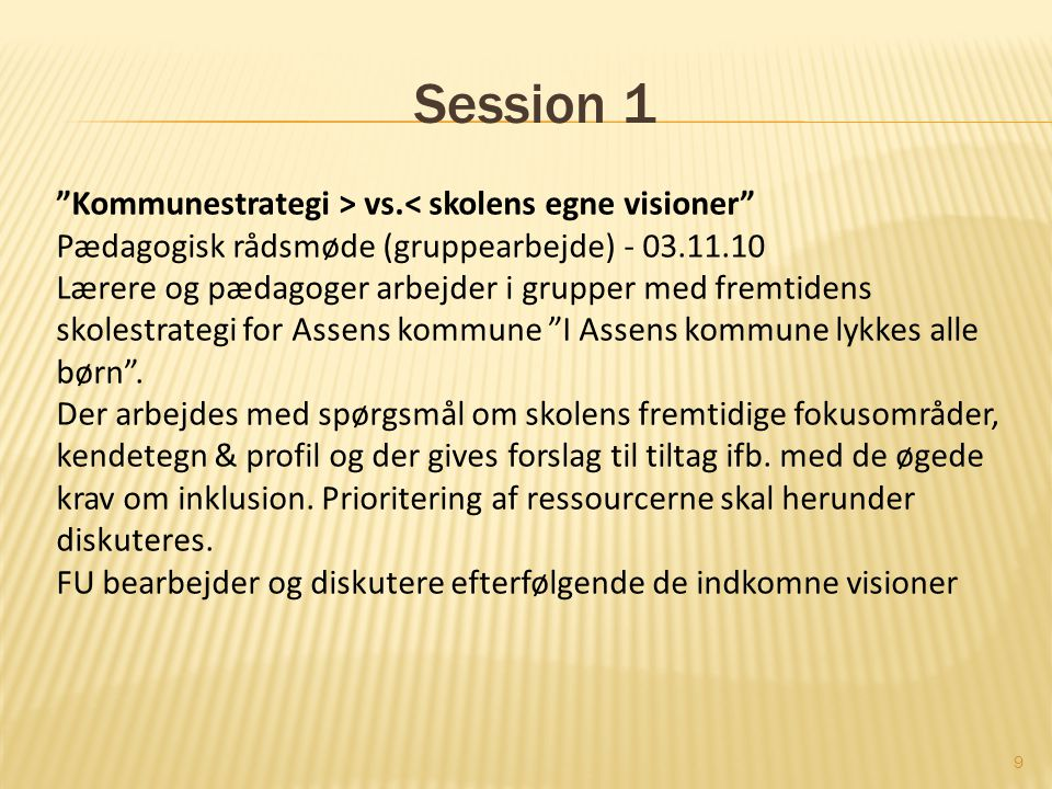 Session 1 Kommunestrategi > vs.< skolens egne visioner