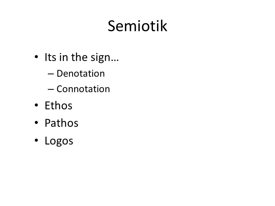 Semiotik Its in the sign… Denotation Connotation Ethos Pathos Logos