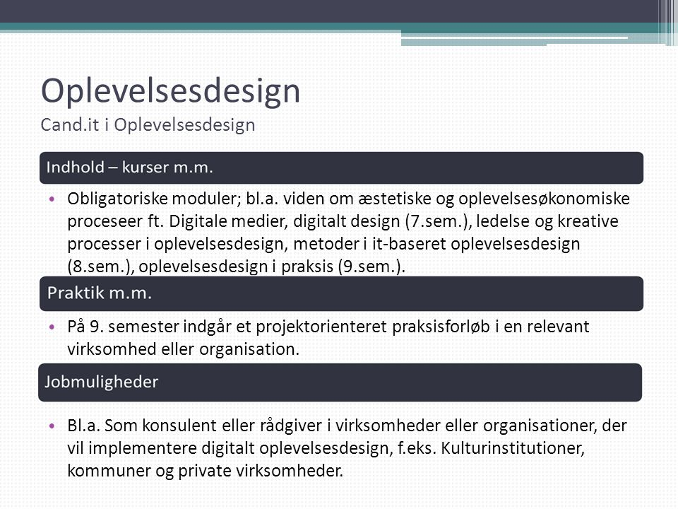 Oplevelsesdesign Cand.it i Oplevelsesdesign