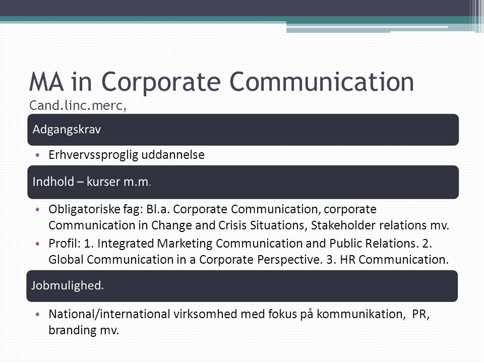 MA in Corporate Communication Cand.linc.merc,