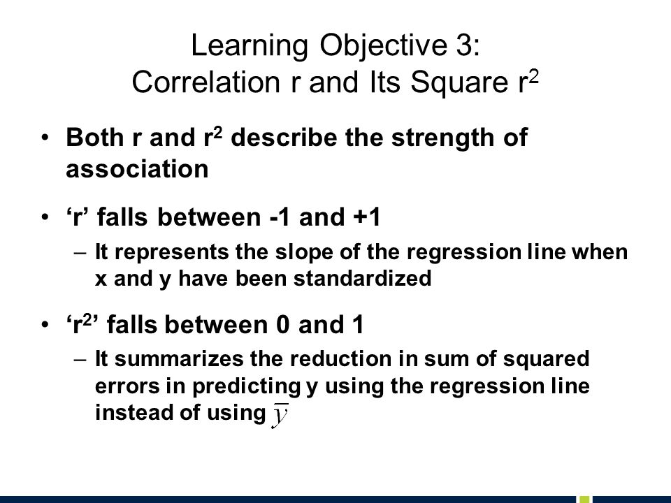 Learning Objective 3: Correlation r and Its Square r2