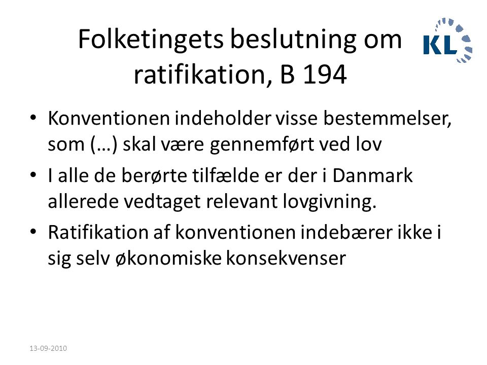Folketingets beslutning om ratifikation, B 194