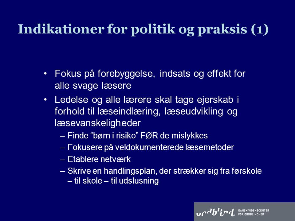 Indikationer for politik og praksis (1)